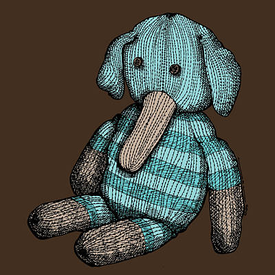 Blue Doodle Drawing - Teddy Elephant In Color by Karl Addison