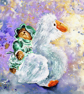 Painting - Teddy Gwendoline And Her White Goose by Miki De Goodaboom