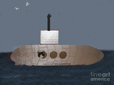Teddy In Submarine Art Print by Reb Frost