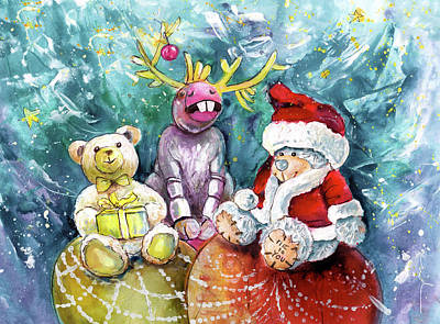 Painting - Teddy Noel And His Christmas Friends by Miki De Goodaboom