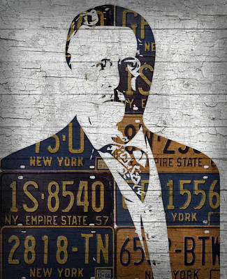 New York State Mixed Media - Teddy Roosevelt Presidential Portrait Made Using Vintage New York License Plates by Design Turnpike