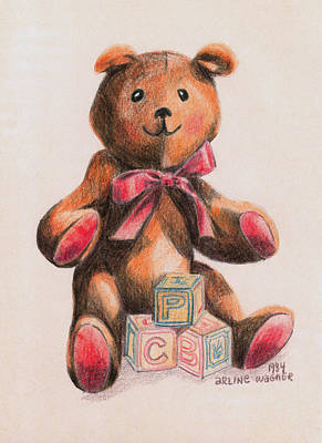 Colored Pencil Drawing - Teddy With Blocks by Arline Wagner