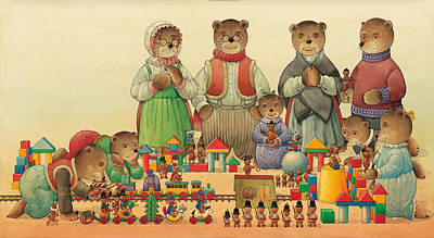Painting - Teddybears And Bears Christmas by Kestutis Kasparavicius
