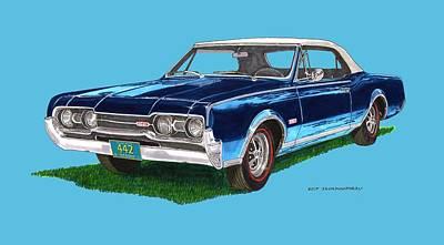Painting - Tee Shirt Art 1967 Oldsmobile 4 4 2 Convertible by Jack Pumphrey