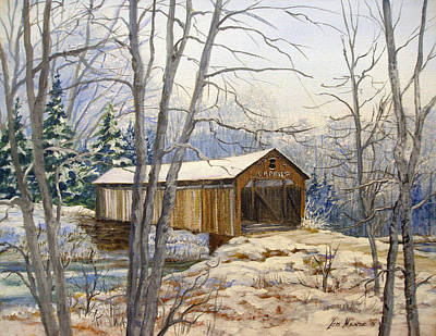 Teegarden Covered Bridge In Winter Print by Lois Mountz