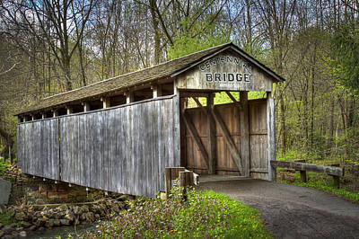 Music Royalty-Free and Rights-Managed Images - Teegarden Covered Bridge  by Jack R Perry