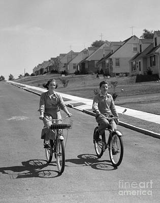 Photograph - Teen Boy And Girl On Bikes, C.1950s by H. Armstrong Roberts/ClassicStock