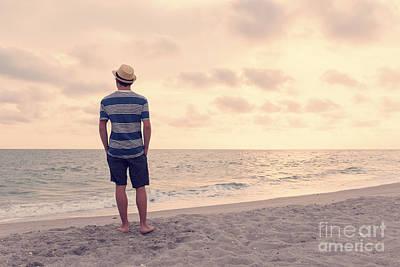 Teen Boy On Beach Art Print by Edward Fielding