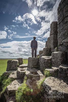 Photograph - Teen Boy Standing On Basalt Rocks by Edward Fielding