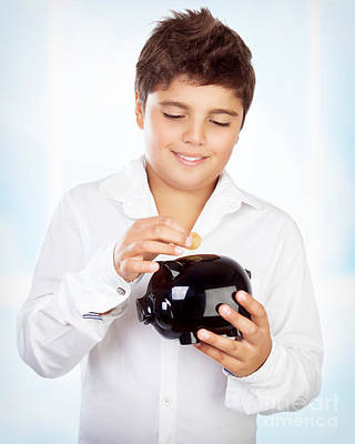 Photograph - Teen Boy With Piggy Bank by Anna Om