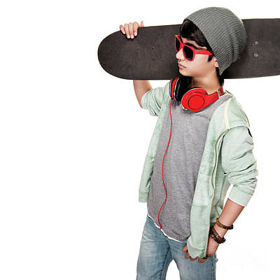 Photograph - Teen Boy With Skateboard by Anna Om