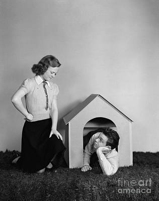 The Dog House Photograph - Teen Couple Arguing, Boy by H. Armstrong Roberts/ClassicStock