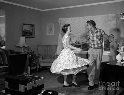 Teen Couple Dancing, C.1950-60s Art Print by Debrocke/ClassicStock