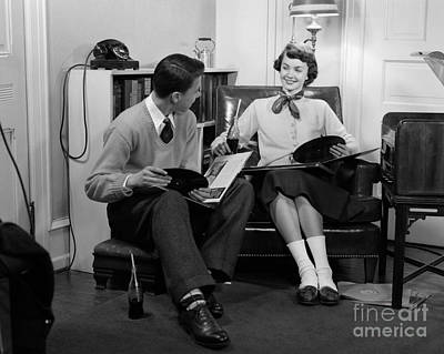 Photograph - Teen Couple Listening To Records by H. Armstrong Roberts/ClassicStock