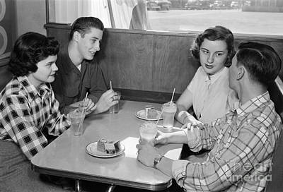 Teen Couples At A Diner, C.1950s Art Print by H. Armstrong Roberts/ClassicStock