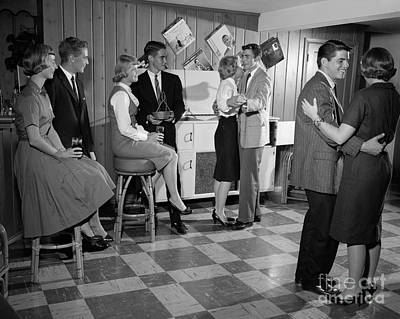 Linoleum Photograph - Teen Couples Dancing At A Party by H. Armstrong Roberts/ClassicStock
