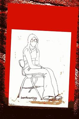 Teen Girl In School Chair Art Print by Sheri Buchheit
