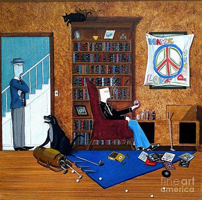 Teen Sitting In Chair Enjoying A Brandy In Father's Den Print by John Lyes
