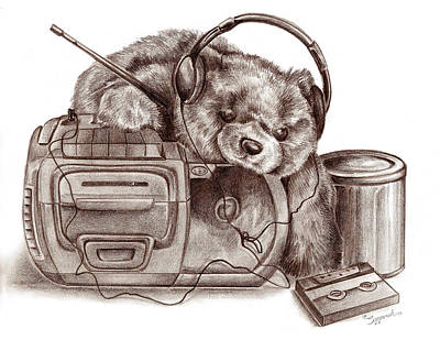 Drawing - Teenage Bear by Sipporah Art and Illustration