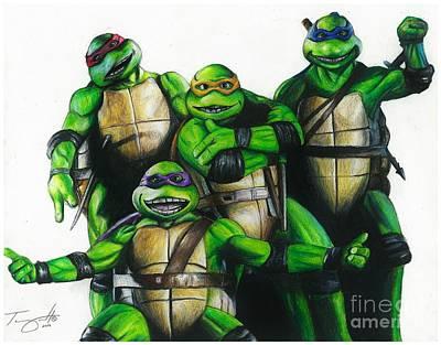 Reptiles Drawings - Teenage Mutant Ninja Turtles by Tony Orcutt