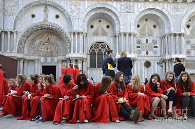 Teenager Girls From A Uk Choral Group Waiting Outside St Mark Basilica In Venice Art Print by Sami Sarkis