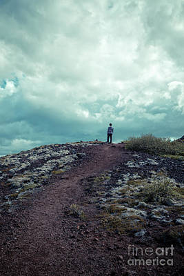 Photograph - Teenager On A Hiking Trail In Iceland by Edward Fielding