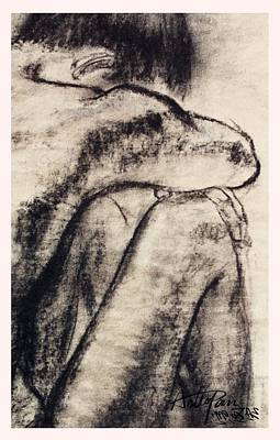 Clouds - Teenager with legs-ArtToPan painting-charcoal sketch-2K-1996 by Artto Pan