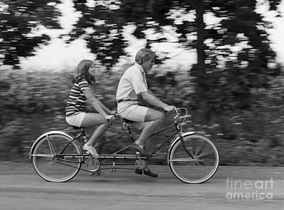 Teenagers On Tandem Bike, C.1970s Art Print by H. Armstrong Roberts/ClassicStock