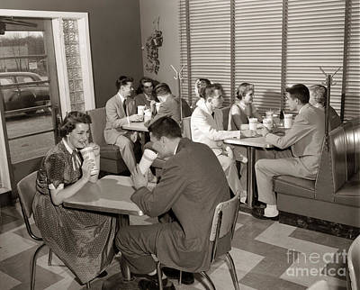 Teens At A Diner, C. 1950s Art Print by H. Armstrong Roberts/ClassicStock