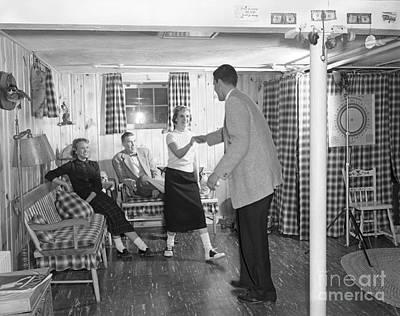 Linoleum Photograph - Teens Dancing In Rec Room, C.1950s by H. Armstrong Roberts/ClassicStock