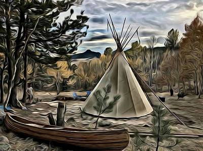 Photograph - Teepee And Canoe 1 by Lanita Williams