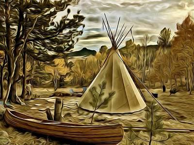 Photograph - Teepee And Canoe 2 by Lanita Williams