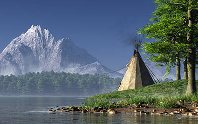 Teepee By A Lake Art Print by Daniel Eskridge