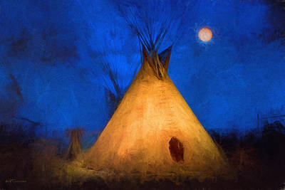 Teepee In Moonlight Art Print
