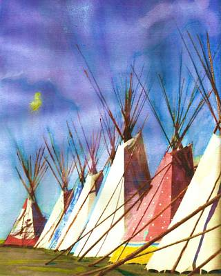 Painting - Teepees Or Tipi's by Joseph Barani