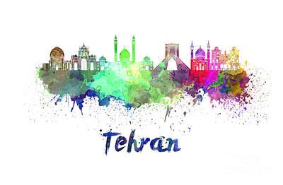Tehran Skyline In Watercolor Art Print by Pablo Romero