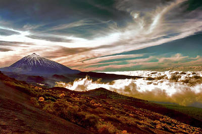 Photograph - Teide Volcano - Rolling Sea Of Clouds At Sunset by Menega Sabidussi