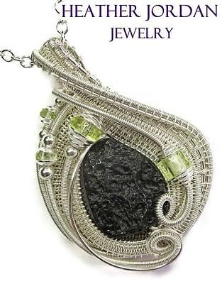 Vaseline Glass Jewelry - Tektite Meteorite Impactite Pendant In Sterling Silver With Uranium Glass Vaseline Glass Tktss5 by Heather Jordan