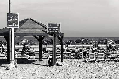 Photograph - Tel Aviv Beach Signs by John Rizzuto
