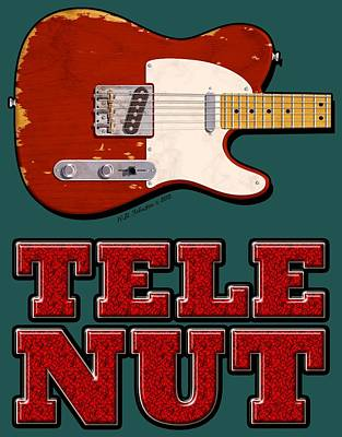 Digital Art - Tele Nut Shirt by WB Johnston