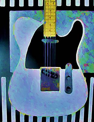 Rollingstone Painting - Tele  With Stripes by Gregory McLaughlin