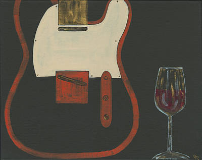 Telecaster With Wine Original by Helen Prater