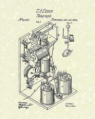 Edison Drawing - Telegraph 1869 Patent Art by Prior Art Design