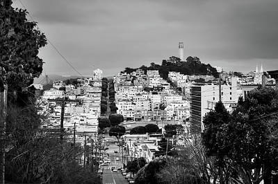 Photograph - Telegraph Hill In San Francisco California - Black And White by Gregory Ballos
