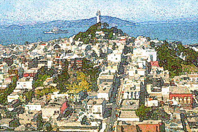Painting - Telegraph Hill San Francisco by Art America Gallery Peter Potter