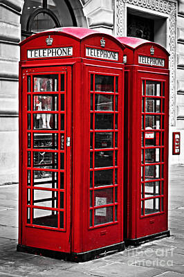 English Photograph - Telephone Boxes In London by Elena Elisseeva