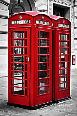 Telephone Boxes In London Print by Elena Elisseeva