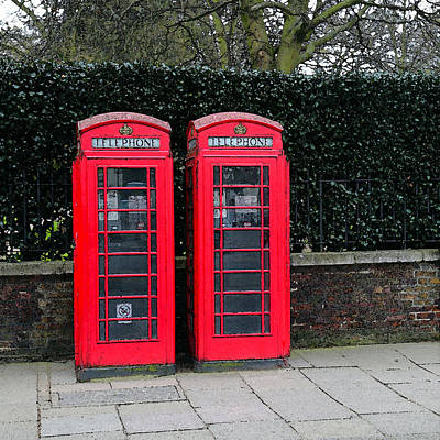 Bayswater Digital Art - Telephone Boxes In London by Peg Owens
