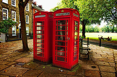 Photograph - Telephone Boxes In Richmond by Nicky Jameson