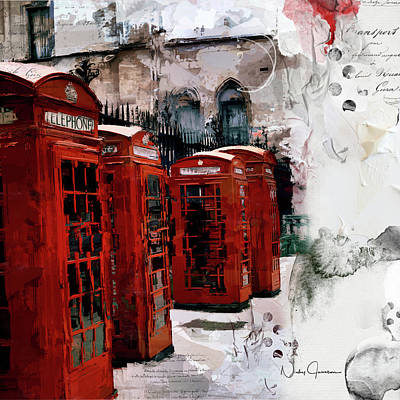 Digital Art - Telephone Boxes by Nicky Jameson
